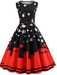 cheap -Women's Black Dress Basic Christmas A Line Abstract Santa Claus Pleated Print S M