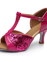 cheap -Women's Dance Shoes Patent Leather Latin Shoes Heel Cuban Heel Customizable Fuchsia / Performance