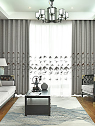abordables -rideaux d'occultation en lin imitation épais de style chinois à deux panneaux rideaux de chambre salon chambre rideaux