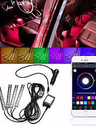 cheap -4Pcs LED Car Interior Decoration Lights Floor Atmosphere Light Strip Phone App Control Colorful RGB