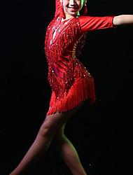 cheap -Latin Dance / Kids' Dancewear Dresses Girls' Training / Performance Elastane Tassel / Paillette Half Sleeve High Leotard / Onesie