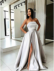 cheap -A-Line Strapless Sweep / Brush Train Satin Sexy / Grey Prom / Formal Evening Dress with Pleats / Split 2020