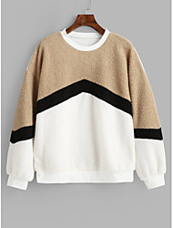 cheap -Women's Color Block Pullover Long Sleeve Sweater Cardigans Round Fall White