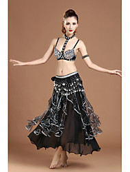cheap -Belly Dance Outfits Women's Training / Performance Spandex / Chiffon / Polyster Tiered / Crystals / Rhinestones Sleeveless Dropped Skirts