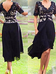 cheap -A-Line V Neck Knee Length Chiffon / Lace Short Sleeve Plus Size / Elegant Mother of the Bride Dress with Appliques 2020