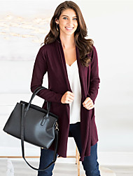 cheap -Women's Solid Colored Long Sleeve Cardigan Sweater Jumper, Shawl Fall / Winter Black / Wine / Orange S / M / L