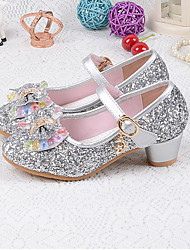 cheap -Girls' Flower Girl Shoes PU Heels Little Kids(4-7ys) / Big Kids(7years +) Bowknot / Sequin / Buckle Gold / Silver / Blue Spring / Fall / Rubber