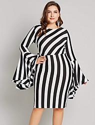 cheap -Women's Plus Size Bodycon Dress - Striped Black Yellow Blue L XL XXL XXXL