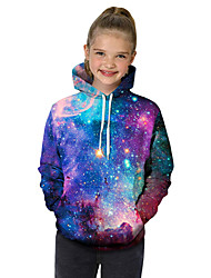 cheap -Kids Toddler Girls' Active Basic Fantastic Beasts Geometric Galaxy Color Block Print Long Sleeve Hoodie & Sweatshirt Purple