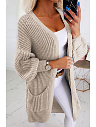 cheap -Women's Solid Colored Long Sleeve Cardigan Sweater Jumper, V Neck Blushing Pink / Gray / Khaki S / M / L