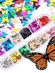 cheap -1 pcs Ergonomic Design / Best Quality Glitter Glitter Powder Sequins For Finger Nail Butterfly nail art Manicure Pedicure Daily / Masquerade / Festival Trendy / Romantic