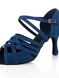 cheap -Women's Dance Shoes Canvas Latin Shoes Heel Cuban Heel Customizable Blue