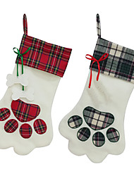cheap -Christmas socks home decoration Accessories Plaid Christmas gift bags pet dog cat paw socks Christmas tree ornaments
