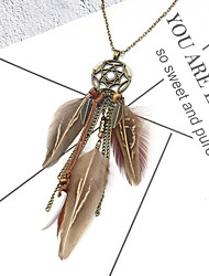 cheap -Women's Choker Necklace Pendant Necklace Feather Classic Natural Vintage Fashion Feather Alloy 74 cm Necklace Jewelry 1pc For Party Evening Gift Masquerade Birthday Party Beach
