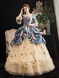 cheap -Maria Antonietta Rococo Medieval Vacation Dress Winter Dress Party Costume Masquerade Prom Dress Women's Costume Blue Vintage Cosplay Party Masquerade 3/4-Length Sleeve Floor Length Ball Gown