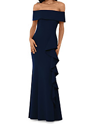 cheap -Mermaid / Trumpet Off Shoulder Floor Length Jersey Elegant Formal Evening Dress with Ruffles 2020