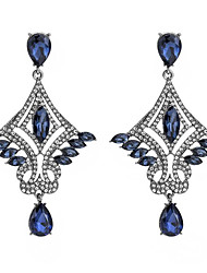 cheap -Women's Synthetic Amethyst Drop Earrings Geometrical Flower Vintage Gold Plated Earrings Jewelry Black / Silver / Blue For Anniversary Gift 1 Pair