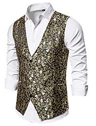 cheap -Men's Vest, Geometric V Neck Polyester Black / White / Gold