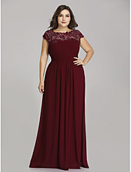 cheap -A-Line Jewel Neck Floor Length Chiffon Short Sleeve Plus Size Mother of the Bride Dress with Lace / Ruching 2020