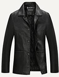 cheap -Men's Daily Regular Leather Jacket, Solid Colored Turndown Long Sleeve PU Black / Brown