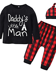 cheap -Baby Boys' Casual / Active Print / Houndstooth / Solid Colored Print Long Sleeve Regular Cotton Clothing Set Black / Toddler