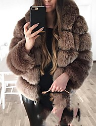 cheap -Women's Daily Fall & Winter Regular Faux Fur Coat, Solid Colored Hooded Long Sleeve Faux Fur Black / Light gray / Brown