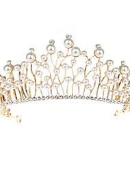 cheap -Alloy Hair Accessory with Pearls 1 Piece Wedding Headpiece