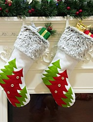 cheap -Christmas Stockings Red Green Christmas Tree Sock Gift Kids Candy Bag Christmas Decoration For Home Christmas Tree Ornaments