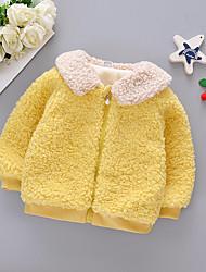 Недорогие -малыш Девочки Активный Однотонный Пэчворк Короткая Куртка / пальто Оранжевый