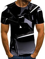 cheap -Men's Plus Size Geometric 3D Pleated Print T-shirt Street chic Weekend Round Neck Black / Summer / Short Sleeve