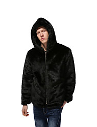cheap -Men's Daily Winter Regular Faux Fur Coat, Solid Colored Hooded Long Sleeve Faux Fur Black