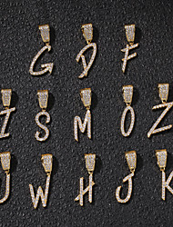 cheap -Men's Women's AAA Cubic Zirconia Pendant Chandelier Alphabet Shape Mushroom European Trendy Rock Fashion Initial Brooch Jewelry Gold Silver For Street