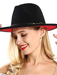cheap -Unisex Basic 1930s Linen Wool Blends Fedora Hat-Solid Colored Fall Winter Black Red