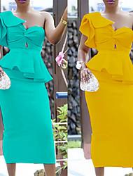 cheap -Women's Sheath Dress - Solid Colored Yellow Light Green S M L XL