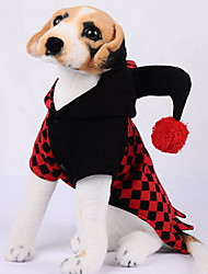 cheap -Dogs Outfits Wizard Hat Winter Dog Clothes Red Halloween Costume Polyster Plaid / Check Holiday XS S M L XL