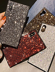 cheap -Apple Applicable to XS Max/XR/X Shining Crystal 6/7/8 Mesh Red Square 6 Plus/7 Plus/8 Plus All-inclusive Anti-fall Mobile Phone Case