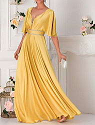 cheap -A-Line Elegant Formal Evening Dress Plunging Neck Half Sleeve Floor Length Satin with Crystals 2021