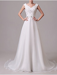 cheap -A-Line V Neck Sweep / Brush Train Chiffon Regular Straps Formal / Romantic Little White Dress / Illusion Detail Wedding Dresses with Bow(s) / Buttons / Crystals 2020