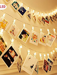 cheap -1pcs Photo Collage Clip String Lights 3m 20leds Decorative Wedding Bedroom Wall Display Fairy Photo Lights for Hanging Pictures Cards