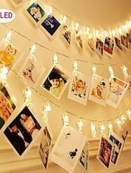 abordables -1pcs photo collage clip guirlande lumineuse 3m 20leds décoratif mariage chambre affichage mural fée photo lumières pour accrocher des images cartes