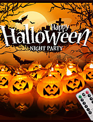 cheap -Halloween String Lights 3m 20LED 3D Jack-O-Lantern Pumpkin USB Powered with 13Keys Remote Control Outdoor Halloween Decorations Lights Warm White