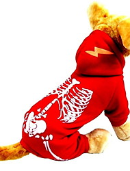 cheap -Dog Jumpsuit Skull Holiday Halloween Winter Dog Clothes Black Red Costume Polyster XS S M L XL