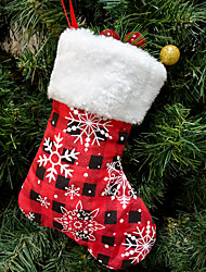 cheap -2pcs Christmas Red Plaid Snowflake Socks Christmas Tree Ornaments Christmas Day Decorations