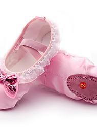 cheap -Girls' Ballet Shoes Flat Flat Heel Pink Elastic Band Slip-on / Silk / Practice
