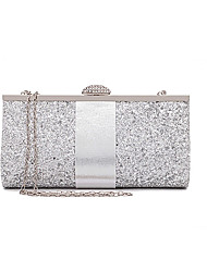 cheap -Women's Sequin Polyester Evening Bag Solid Color Black / Blushing Pink / Gold