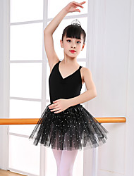 cheap -Ballet Outfits Girls' Training / Performance Cotton / Lace / Tulle Pleats Sleeveless Leotard / Onesie / Tutus