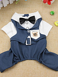 cheap -Dogs Coat Outfits Jacket Winter Dog Clothes Green Blue Dark Blue Costume Polyster Striped Wedding XS S M L XL