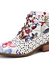 Недорогие -Жен. Ботинки На плоской подошве Круглый носок Полиуретан Ботинки Наступила зима Черный / Красный