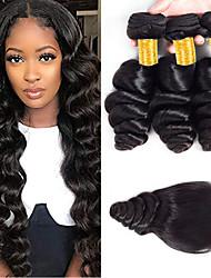 cheap -3 Bundles with Closure Brazilian Hair Loose Wave Virgin Human Hair 100% Remy Hair Weave Bundles Natural Color Hair Weaves / Hair Bulk Bundle Hair Human Hair Extensions 8-24 inch Black Natural Color