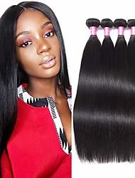 abordables -Lot de 4 Cheveux Brésiliens Droit Cheveux Naturel humain Extensions Naturelles Couleur naturelle Tissages de cheveux humains Extention Grosses soldes Extensions de cheveux Naturel humains / 8A